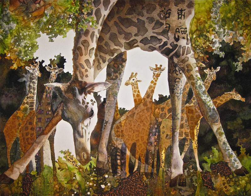 C. A. Evans Mixed Media Giraffes on Parade